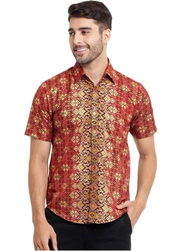 Flike Batik multi Short Sleeve Shirt Bohemian Maroon 65EB6AAC7B0C72GS_1
