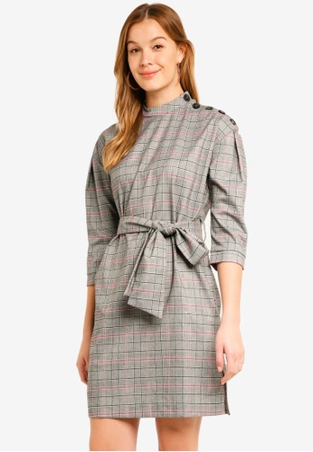 Y.A.S grey and pink Checka 3/4 Dress 2B664AA738DE0EGS_1