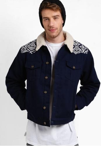 Wrung 海軍藍色 Skeme 仿羊毛襯衫領外套 WR395AA74ATLMY_1