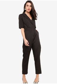 45d6f83eb1fc ZALORA black Blazer Collar Jumpsuit C3A2EAA9E16A6FGS 1