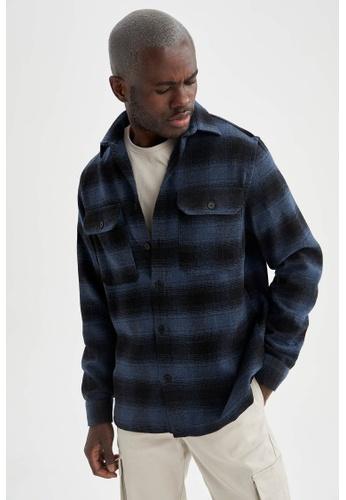 DeFacto blue Long Sleeve Shirt EA739AAFED0D42GS_1