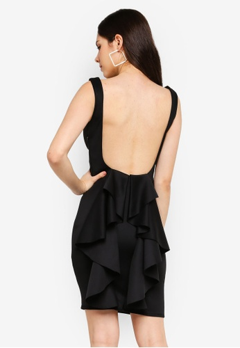 Goddiva black Open Back Waterfall Midi Dress EC003AA0E9C13DGS_1