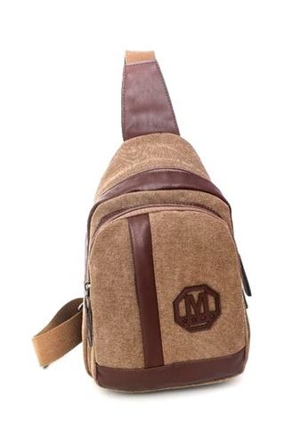 Jackbox brown Korean Fashion Canvas Mix Leather Sling Shoulder Messenger Bag 341 (Brown) JA762AC0RNEDMY_1