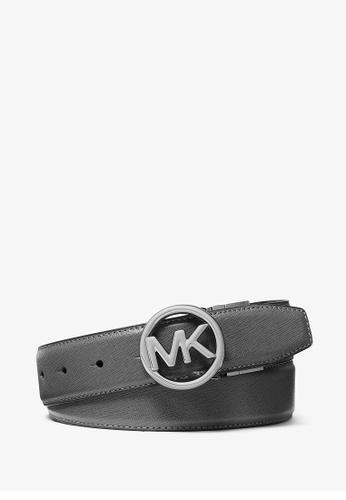 MICHAEL KORS grey Michael Kors Crossgrain Leather Mens Reversible Belt - Grey/Black 572BCAC0F5C440GS_1