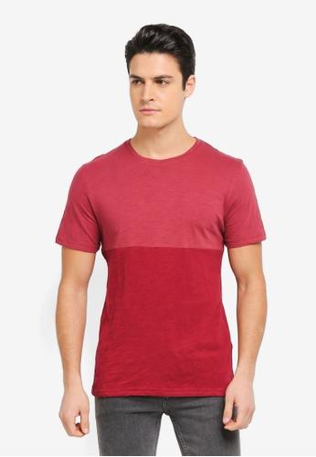 ZALORA red and multi Contrast Colour Slub Tee B16A7AA717DC73GS_1