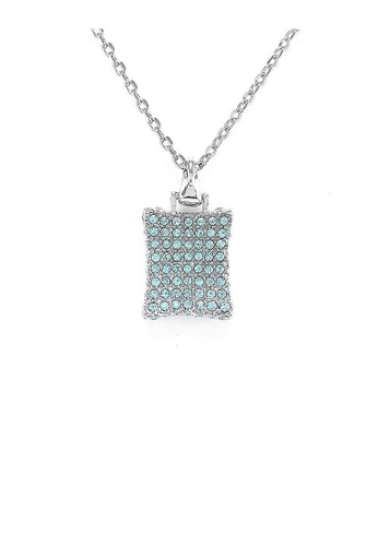 Glamorousky blue Simple Rectangle Pendant with Blue Austrian Element Crystals and Necklace 04E7FAC2F37462GS_1