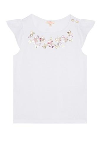 Du Pareil Au Même (DPAM) white Ruffle Sleeve T-shirt 6864CKAEBEE15CGS_1