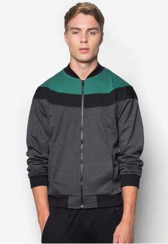 Men's Sporty Bomber esprit台灣Jacket with Colour Blocking, 服飾, 外套