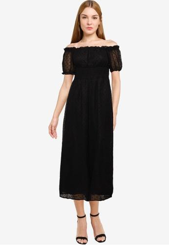 MISSGUIDED black Dobby Spot Shirred Culotte Leg Jumpsuit 647B8AA397728FGS_1