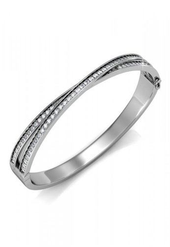 Her Jewellery silver Swarovski® Crystals - Christine Bangle (18K White Gold Plated) Her Jewellery HE581AC0RCBQMY_1