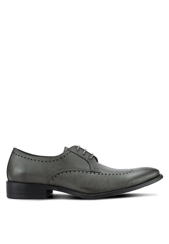 ZALORA grey Essential Faux Leather Wingtip Dress Shoes 9A407AA7F6C689GS_1