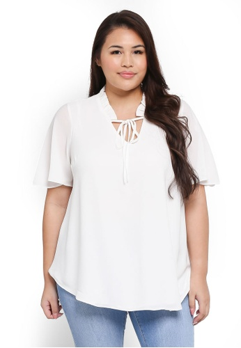 Dorothy Perkins white Plus Size Ivory Ruffle Neck Top D5B59AA8E82825GS_1