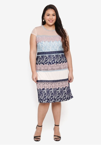 Little Mistress pink Plus Size Lace Stripe Shift Dress BAF11AA8E727C7GS_1