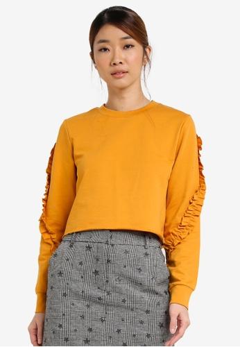 Miss Selfridge 黃色 Petite Ruffle Sleeve Sweatshirt MI665AA0SD8OMY_1