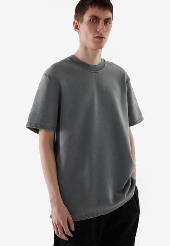 COS black Oversized-Fit Short-Sleeve Sweatshirt EB7F2AAA37D189GS_1