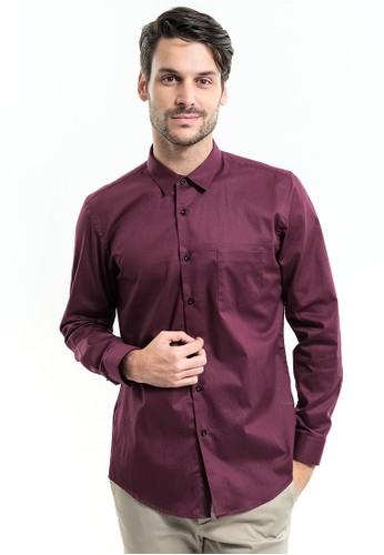 MANLY red Manly Terracee Maroon Slim Fit Long Sleeve Plain Shirt EE2D0AADBD428BGS_1