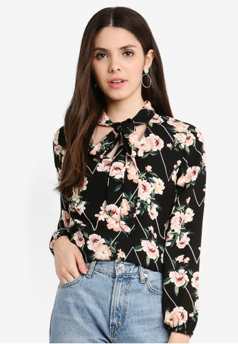 Dorothy Perkins black Floral Tie Neck Top F57A0AA541AAC8GS_1