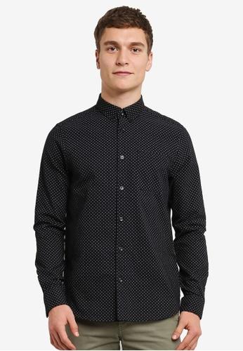 Burton Menswear London black Long Sleeve Black Brushed Geo Print Shirt BU964AA0RWM0MY_1