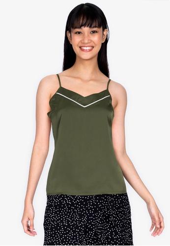 ZALORA BASICS green Lounge Satin Pyjama Cami 7A506AA872B610GS_1