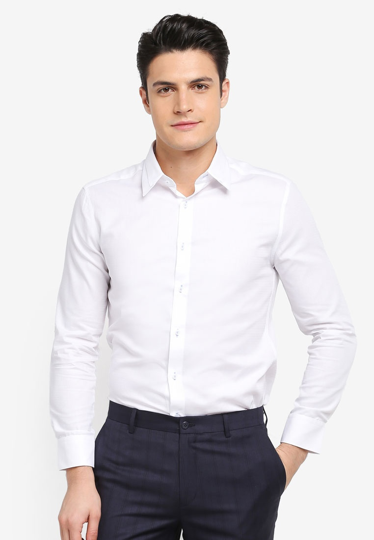 Textured Collar Shirt White Sleeve G2000 Long qHwYBqR