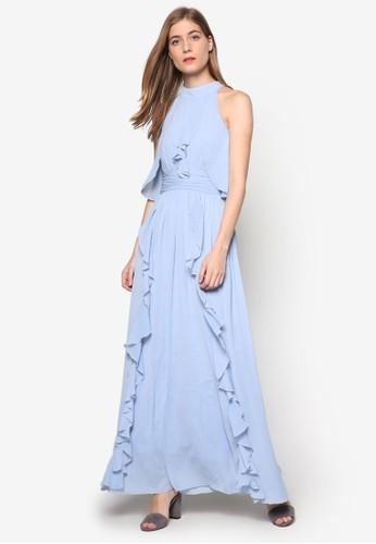 Aesprit 台灣門市ngeline 抓皺荷葉飾無袖連身長袍, 服飾, 洋裝