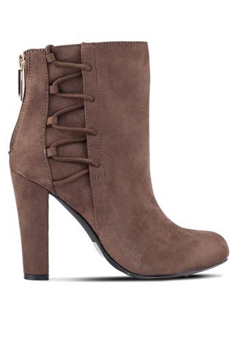 ZALORA grey Lace Up Ankle Boots E35C1ZZ86243B6GS_1