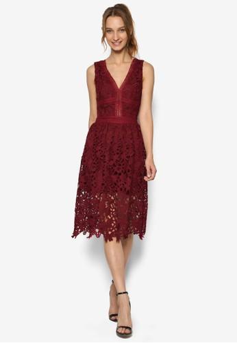V 領刺繡蕾絲及esprit 品牌膝洋裝, 服飾, 洋裝