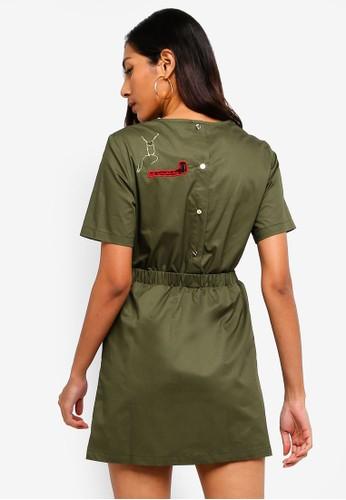 Hopeshow green T-Shirt Dress With Elastic Waistline 4F8F2AA88443CDGS_1