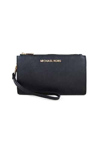 Michael Kors black Michael Kors Jet Set Travel Double Zip Wristlet Phone Wallet Black 35F8GTVW0L 9C9E8AC18E5FD0GS_1
