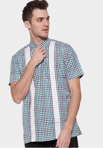 YEGE blue YEGE Short Sleeve Check Shirt 8103 289F3AAF0765B1GS_1