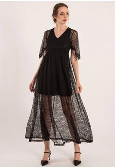 496c9346 BEBEBUTTERFLY black Bebebutterfly Lace Batman Sleeve Dress  2BA69AA7AB3D73GS_1