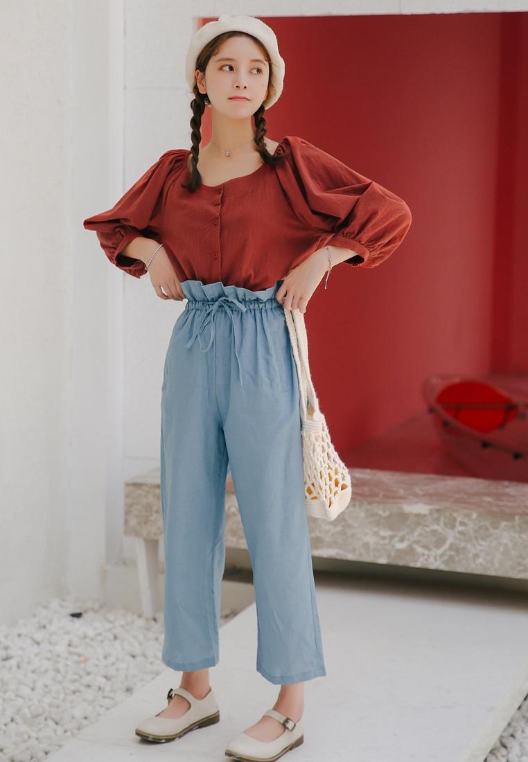 Straight Cropped Shopsfashion Blue Pants Legged HwTnCqF