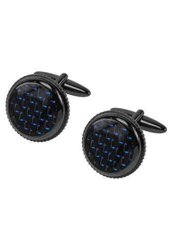 CUFF IT black Black & Blue Carbon Fiber Gunmetal Cufflinks CU047AC2UQQDHK_1