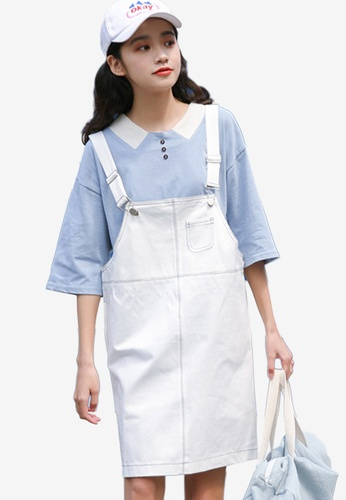 Shopsfashion white Loose Fit Dungaree Dress 996A3AAB3EF0D7GS_1