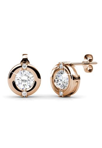 Her Jewellery Gold Swarovski Zirconia Clic Earrings Rose 18k