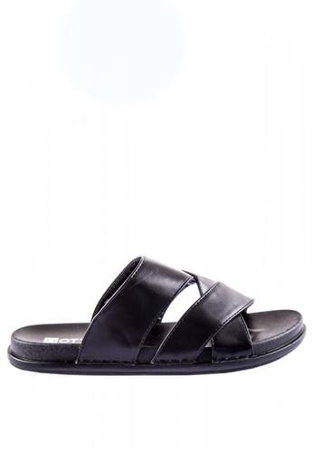 Otto black Cross Slider Sandals D3354SHBF1C235GS_1