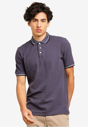 UniqTee grey Double Striped Collar Polo Shirt 1C8EEAA762A48DGS_1