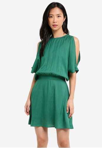 ZALORA green Mini Cold Shoulder Dress 3FA24AA12EBF5FGS_1