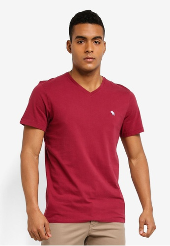 Abercrombie & Fitch red Single Icon V-Neck T-Shirt 860CEAAB205D0BGS_1