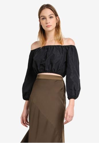 5559a84aba049f Buy Miss Selfridge Black Puff Sleeve Bardot Top Online on ZALORA ...