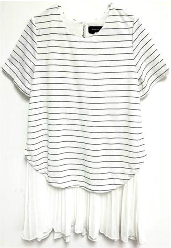 Sunnydaysweety white White Striped Pleated Hem Top K20052601 A3937AAF3C7C53GS_1
