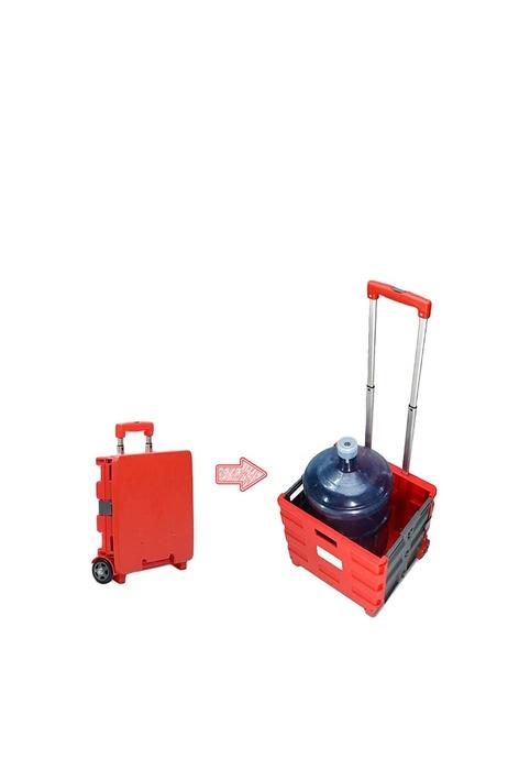2virgo 紅色購物手拉車, 買餸車可作座椅方便收納雙輪升級人氣四輪爬樓梯專用八輪多功能購物手拉車(VHOME-TROLLEY-L-RED)
