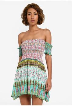 harga Off Shoulder Cut Off Sleeve Smocked Dress Zalora.co.id