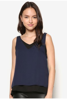 Faux Double Layer Sleeveless Top