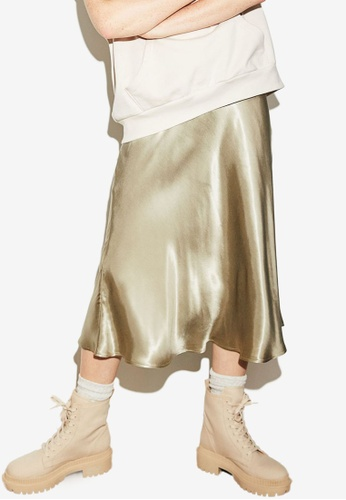 H&M green Calf-Length Skirt 3B831AA206C643GS_1
