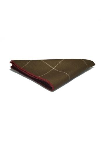 Splice Cufflinks Folio Series Brown Checked Viscose Pocket Square SP744AC16KVZSG_1