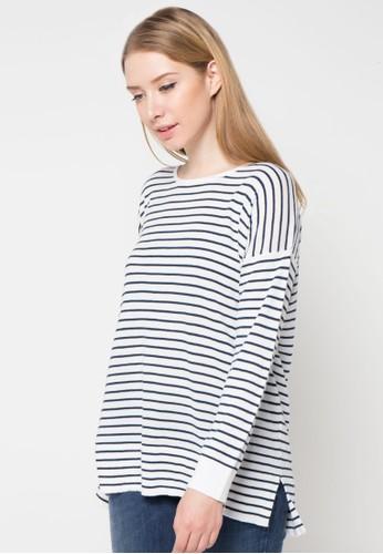 Noir Sur Blanc white Ladies Poncho Striped Colors NO321AA70GFTID_1