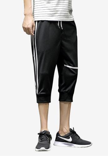 hk-ehunter 黑色 男士條紋描繩七分褲 E829DAA3C49F6CGS_1