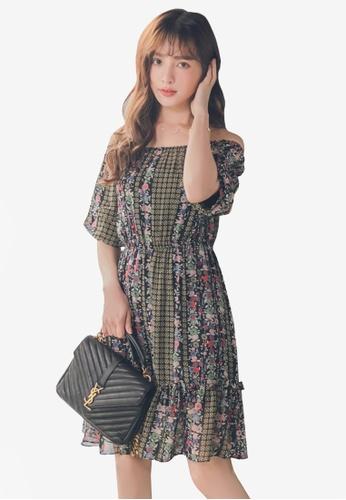 Yoco black Floral Off-Shoulder Chiffon Dress 84CC0AAE315211GS_1