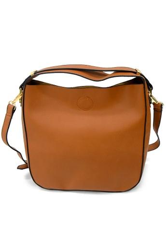 LULUGIFT Lulugift Special Bucket Sling Bag Brown LU989AC0RFSJMY_1